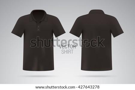 Mens Black Vector Polo Shirt Template Realistic Mockup