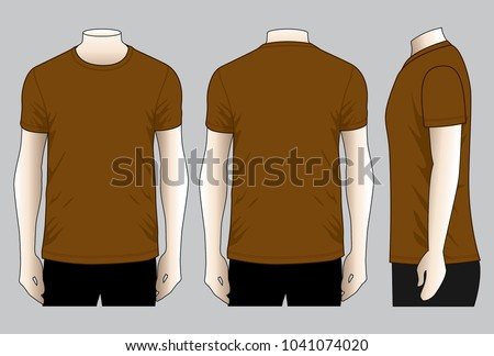 Men's Blank Brown T-Shirt Vector For Template.Front, Back And Side Views. Stock fotó ©