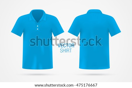5ab8c98d Men's blue vector polo shirt template isolated on background. Men's classic  blue shirt realistic mockup