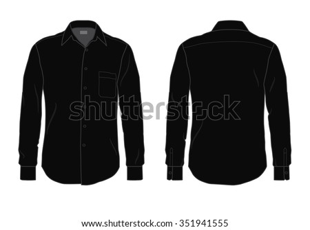 Men's button down dress shirt template, front and back view #351941555