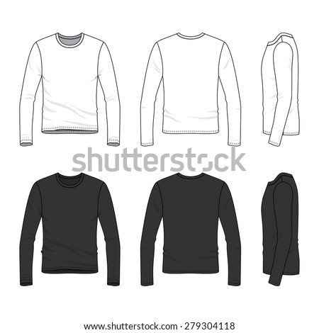Men's clothing set in white and black colors. Front, back and side views of blank tee. Casual style. Vector illustration for your fashion design.