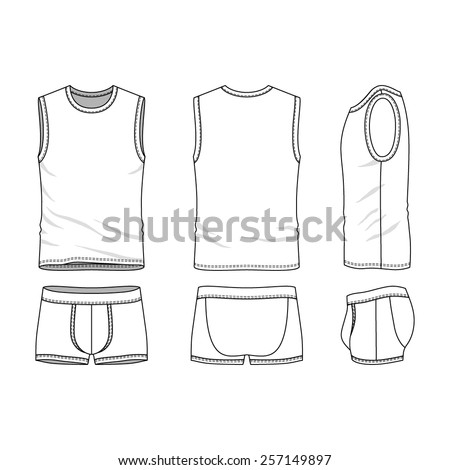 clothing underwear set in front back and side views blank templates