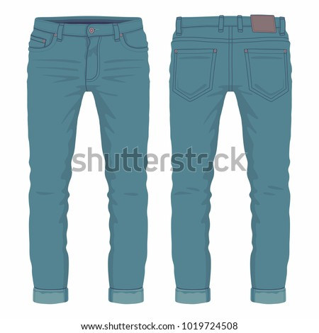Men's dark blue jeans. Front and back views on white background