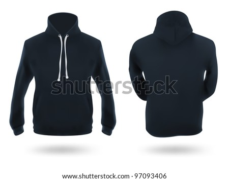 Men's dark blue training hoodie template.