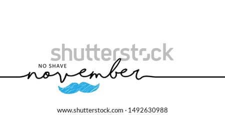 Men's Day. No shave or shaving moustache, mustache or beard men face. Hipster male barber. Awareness blue ribbon, medical symbol for psa prostate cancer month in november movember Lumberjack style