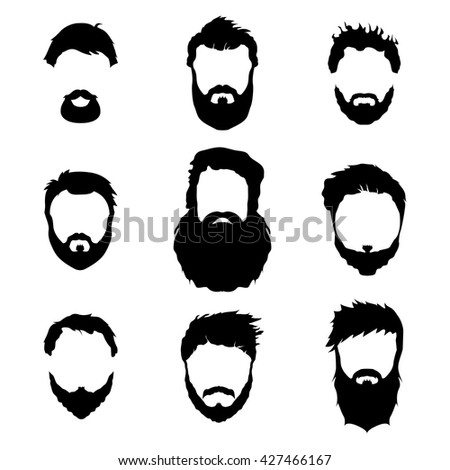 Men's fashion, silhouette, style, set of beards, vector illustration.
