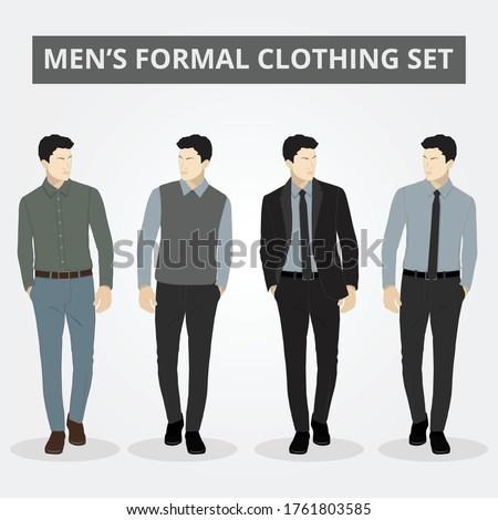 Men's formal professional clothing set. formal dress. office uniform. business outfit. smart dressing. smart wear. semi formal. full dreesup. handsome men. elegant fashion wear. Foto stock ©