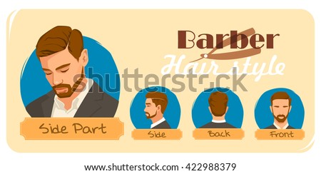 Men's haircut and hairstyle. Side part haircut.  Barber hairstyle.