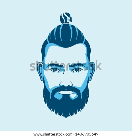 Men's haircut and hairstyle. Vector barber hairstyle.