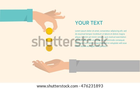 men's hand gives some money to