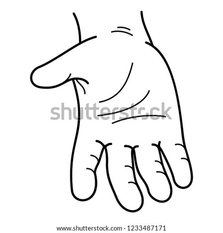 Men's hand with palm up. Vector flat outline icon illustration isolated on white background.
