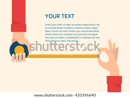 Men's hands hold a measuring tape. Construction, engineering, repair concept. Isolated vector illustration flat design. Template for your text