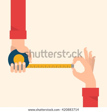 Men's hands hold a measuring tape. Construction, engineering, repair concept. Isolated vector illustration flat design.
