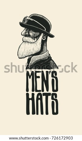 men s hats. design poster with...