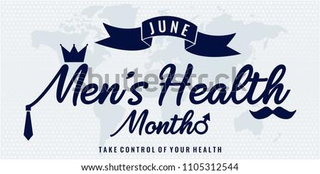 Men's Health Month card or background. vector illustration.