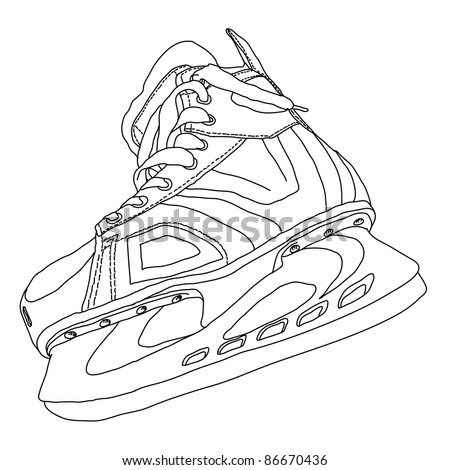 men's hockey skates drawn by