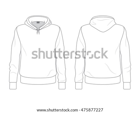 Men's hoodie template, front and back view