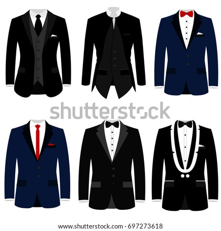 Men's jacket. Collection. Wedding men's suit, tuxedo. Vector illustration
