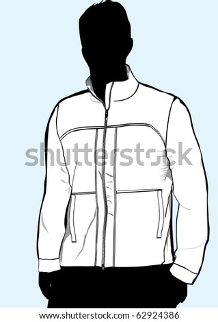 Men's jacket or sweatshirt template with zipper