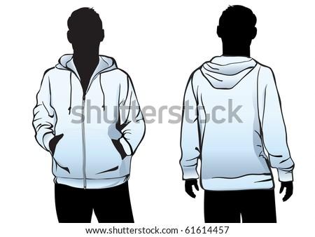 Men's jacket or sweatshirt template with zipper in blue