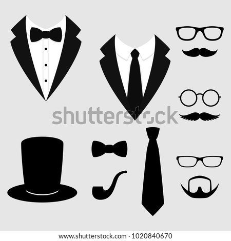 Men's jackets. Tuxedo with mustaches, glasses, beard, pipe and top hat. Weddind suits with bow tie and with necktie. Vector illustration