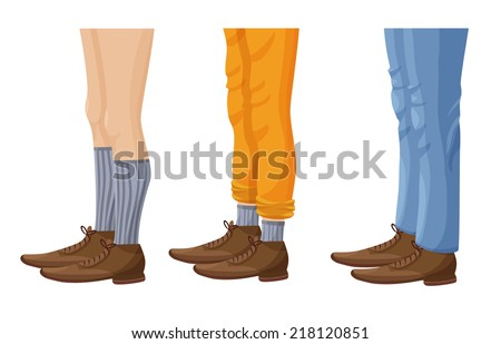 men's leg in socks  shoes and