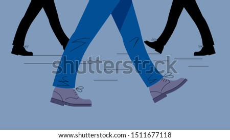 Men's legs in motion. Legs in trousers and boots take a step. Gait. Vector illustration of legs on the background of other legs.