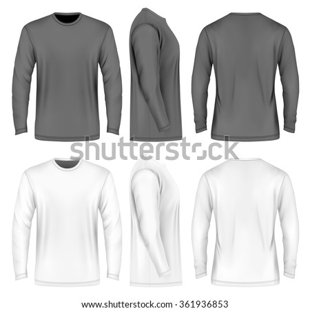Men's long sleeve t-shirt (front, side and back views). Vector illustration. Fully editable handmade mesh. Black and white variants.