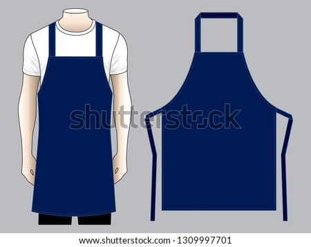 Men's Navy Blue Apron And Flat Pattern Vector Template. ストックフォト ©