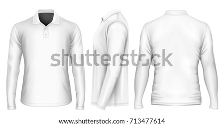 Men's polo-shirt front, back and side views. Vector illustration. #713477614