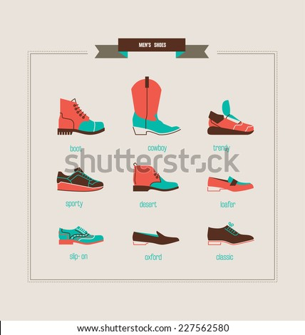 men's shoes and boots vector