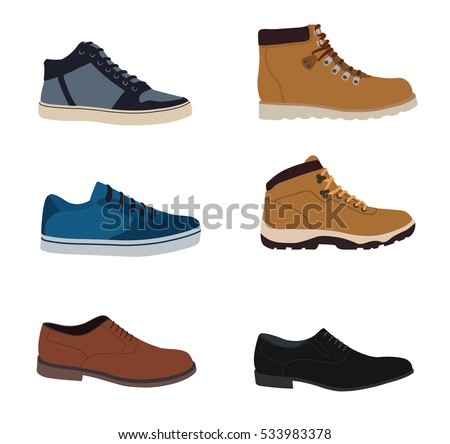 men's shoes isolated set