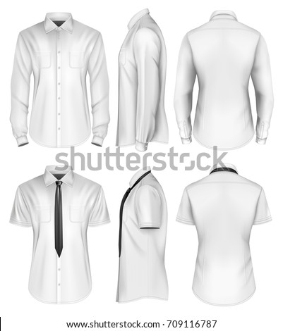 Men's short and long sleeved formal button down shirts front, side and back views. Vector illustration.