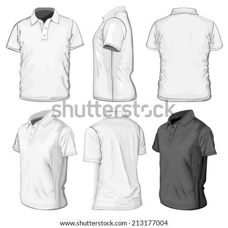 Men 39 s short sleeve polo shirt design templates front for Collar shirt design template