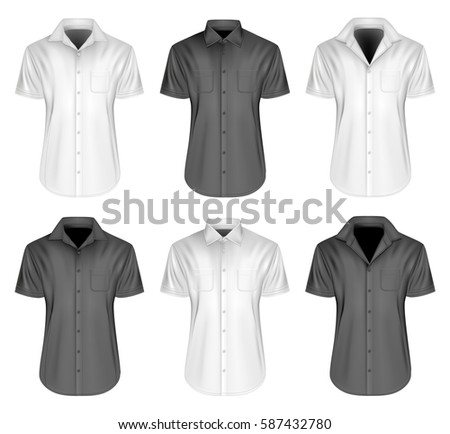 Men's short sleeve shirts with different collar. Black and white variants of shirt. Vector illustration. Stock photo ©