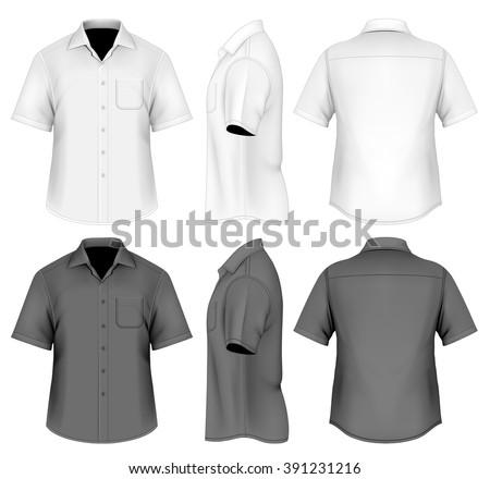Men's short sleeved formal button down shirt . Fully editable handmade mesh, vector illustration.