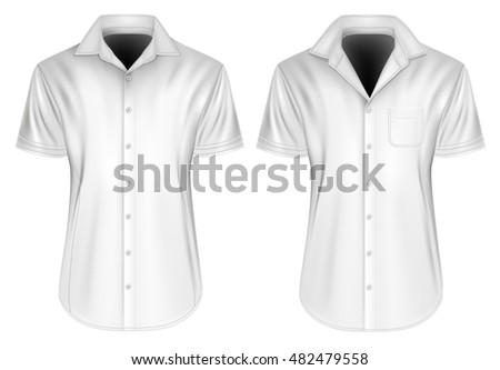Men's short sleeved formal button down shirt. Fully editable handmade mesh, Vector illustration. Stock photo ©