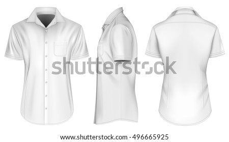 Men's short sleeved formal button down shirts, open collar. Front, side and back views of shirt. Fully editable handmade mesh. Vector illustration. #496665925