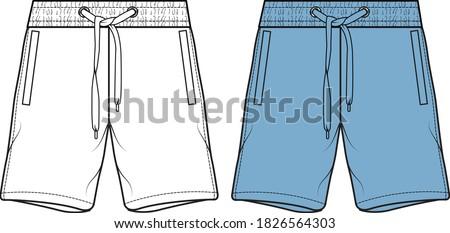 men's shorts illustration. Fashion flat sketch, vector Сток-фото ©
