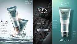 Men's shower gel product advertising for catalog in 3d illustration
