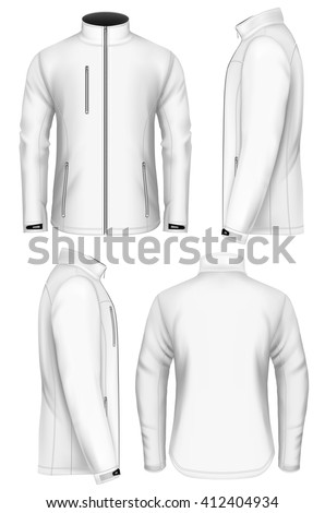 Shutterstock Men's softshell jacket design template (front view, back and side views). Fully editable handmade mesh. Vector illustration.