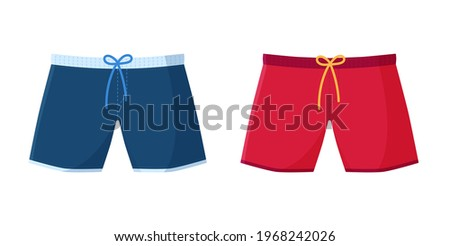 Men's swimming trunks. Red and blue boxer shorts isolated on white Сток-фото ©