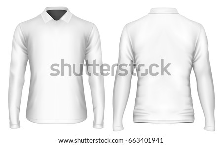 Men's t-shirt long sleeve with polo collar. Vector illustration. #663401941
