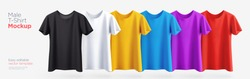 Men's t-shirt realistic mockup in different colors. Vector illustration