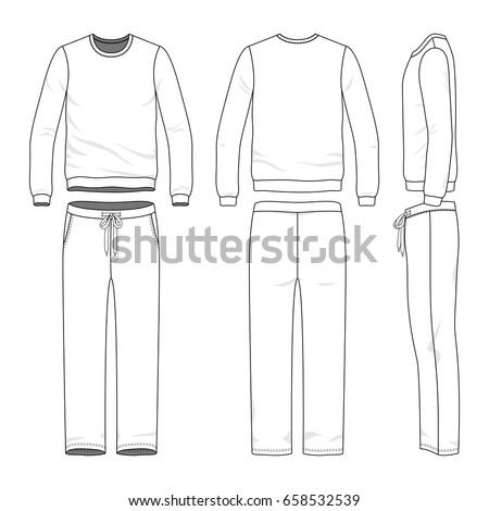 Men's track suit. Blank vector templates of sweatshirt and sweatpants. Clothing set. Line art design. Stock photo ©