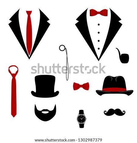 men s tuxedo mustache  monocle