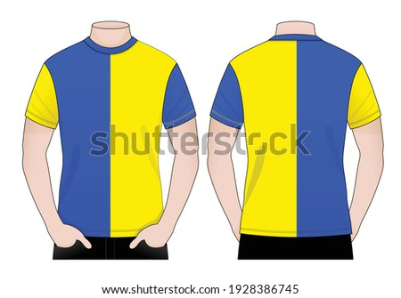 Men's Two Tone T-Shirt Design Blue-Yellow Vector.Front And Back View.