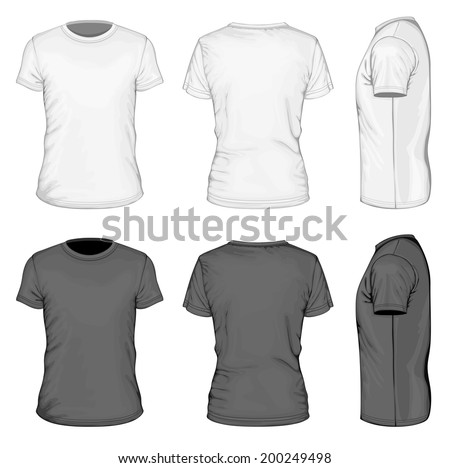 Mens White And Black Short Sleeve T Shirt Design Templates Front Back