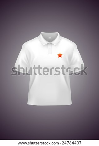 Men's white polo shirt design template (contains gradient mesh elements!). Star can be easily changed to your logo. - stock vector