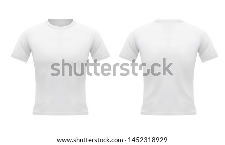 Men's white t-shirt with short sleeve in front and back. Sport u-neck clothing, design template. Blank mockup. 3d realistic vector iilustration isolated on white background